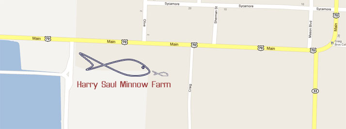 Map to Harry Saul Minnow Farms